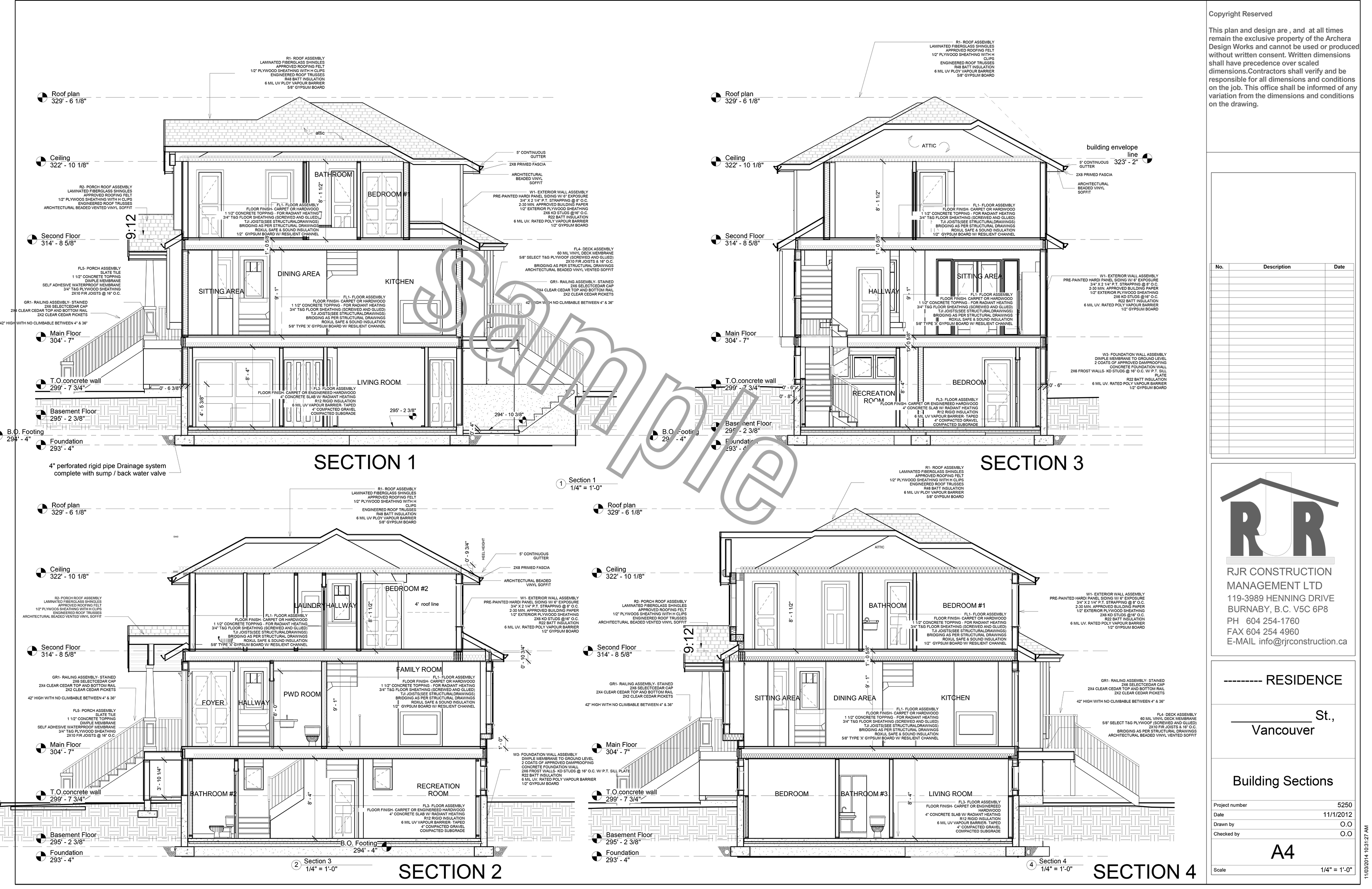 Sample drawings rjr construction group vancouver Residential building plan sample